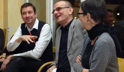 Christine Braunert-Rümenapf, Landesbeauftragte für Menschen mit Behinderung, Lars Düsterhöft MdA, SPD-Abgeordneter und Sprecher seiner Fraktion für Arbeit sowie Sprecher für Menschen mit Behinderungen, Moderator Marius Sypior.